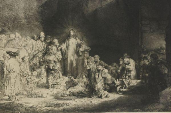 В 1640-ых годах Рембрандт совершенствуется в технике гравировки. Над самым известным офортом - «Христос, исцеляющий больных» - мастер работал семь лет. Работа также известна под названием «Лист в сто гульденов». Именно за такую немыслимую по тем временам сумму была куплена работа.