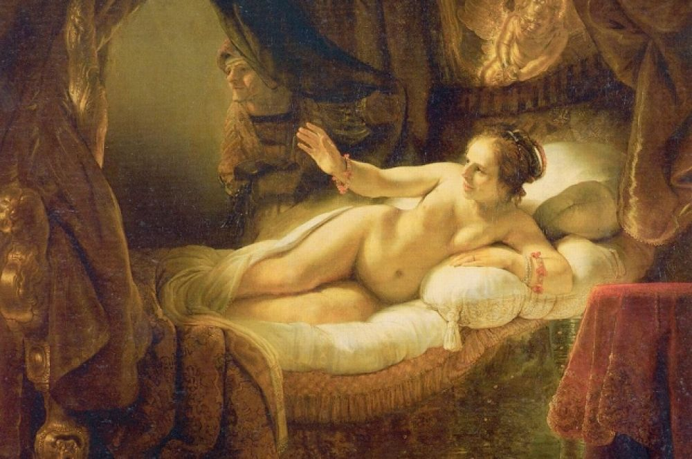 Используя технику итальянских живописцев, Рембрандт работает над сочетанием света и тени и создает ряд картин на библейские сюжеты: «Данаю» (1636/1643), «Похищение Европы» (1632), «Похищение Ганимеда» (1635), «Пир Валтасара» (1635), «Жертвоприношение Авраама» (1635).