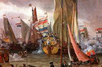 Абрахам Сторк. Показательный бой на реке Эй в честь Петра I 1 сентября 1697 года. Около 1700 года.