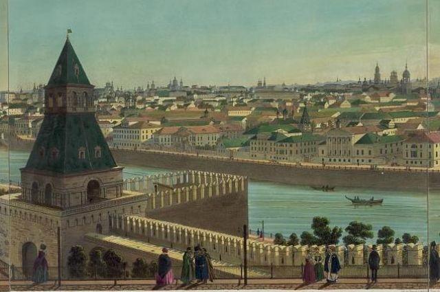 Тайницкая башня с воротами в XIX веке.