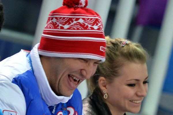 Александр Овечкин и Мария Кириленко на Олимпиаде в Сочи — февраль 2014 года.