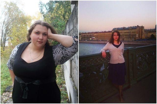Оля до и после похудения.