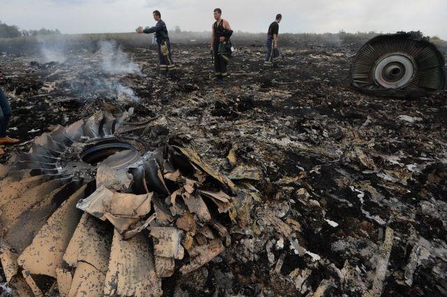 Место падения сбитого самолета