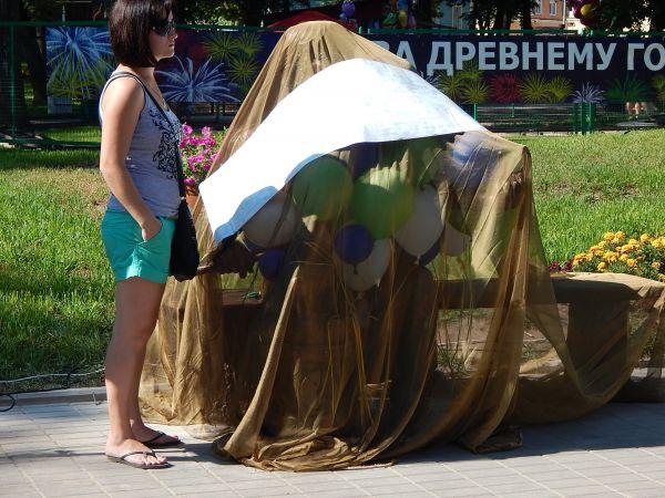 Пока скульптура Скобаря под завесой тайны.