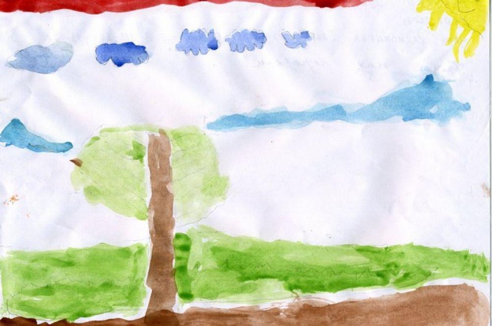 «Гроза над городом». Дарья Кочубей, 5 лет.