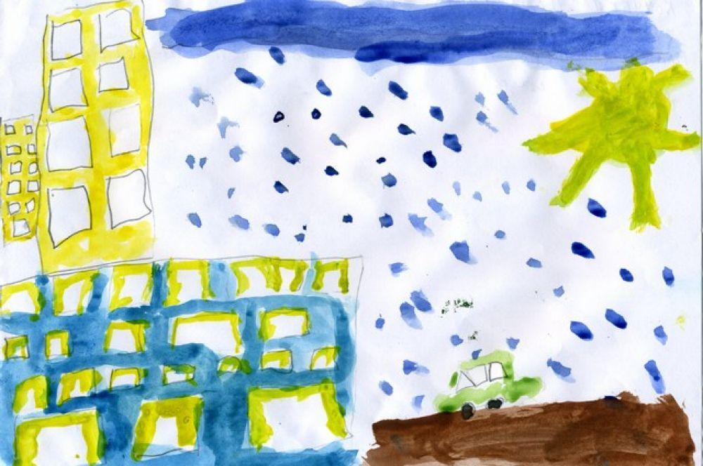 «В Омске дождь». Дарья Кочубей, 5 лет.