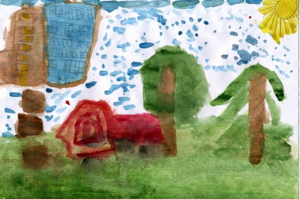 «Летний дождь». Адия Аутолипова, 6 лет.