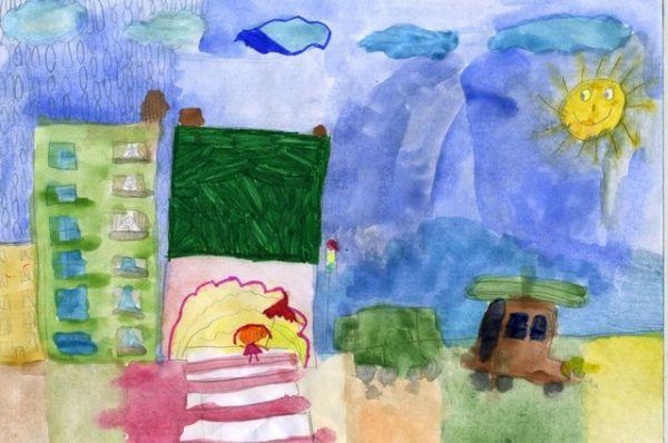 «Я гуляю под дождем». Ксения Артемьева, 6 лет.