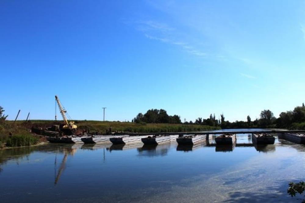 Временные переправы на месте взорванных мостов на Донбассе