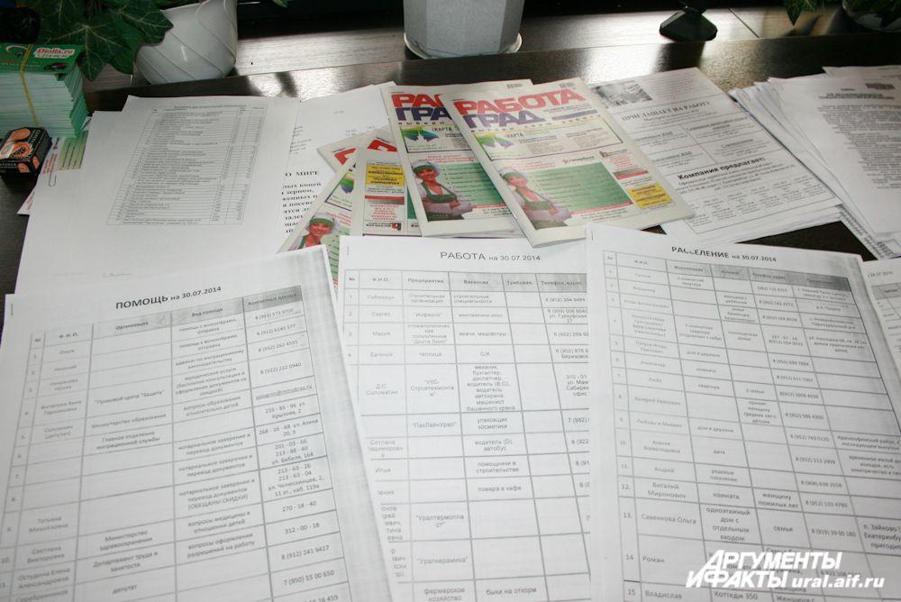 Списки предложений о работе, жилье и другой помощи сотрудники автономии обновляют ежедневно.