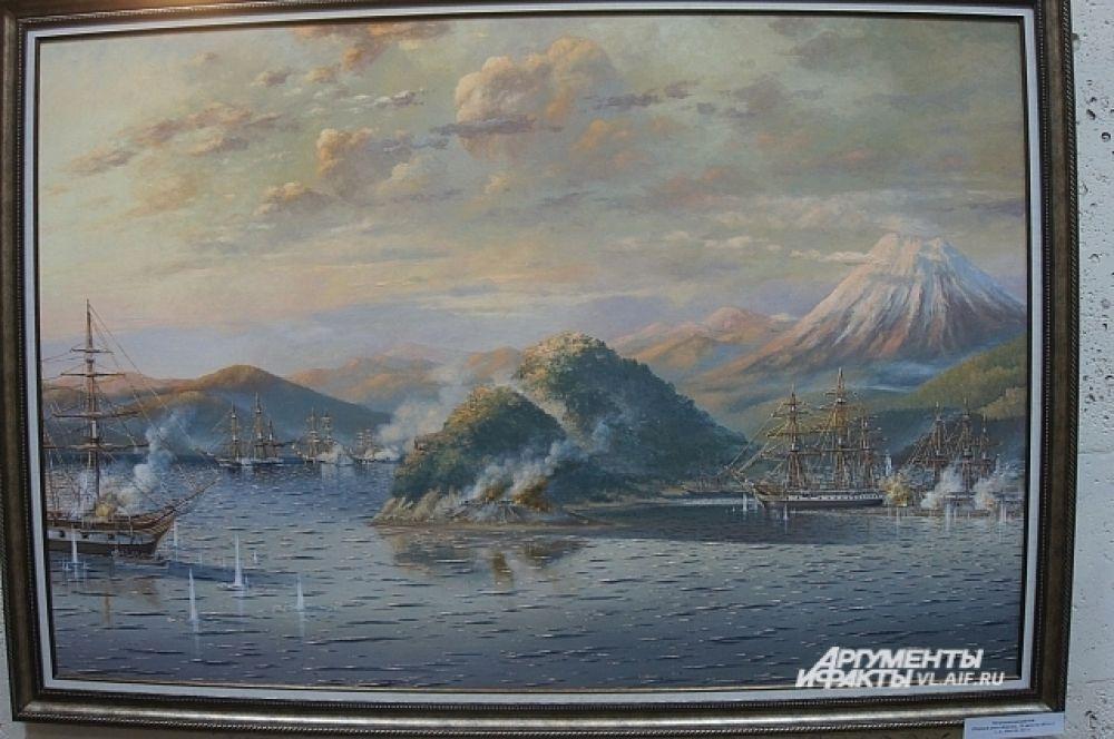 «Петропавловский бой». Второй справа фрегат «Аврора».
