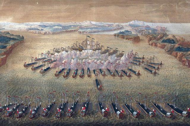 Гангутское сражение, гравюра Маврикия Бакуа.