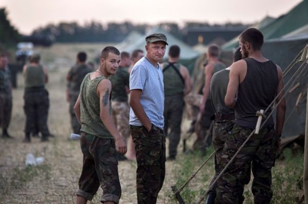 Лагерь украинских военных на территории России