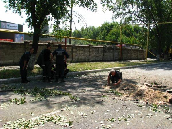 Разрушенный газопровод в Донецке