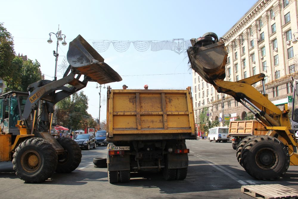 Субботник на Майдане в Киеве