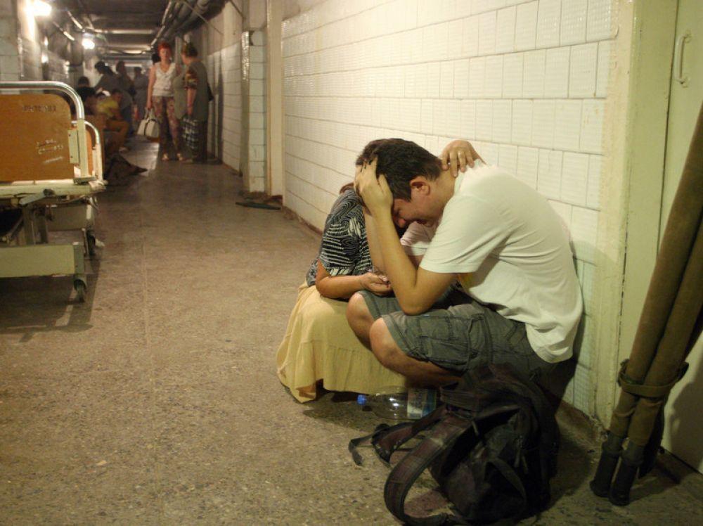 Люди прячутся в подвале городской больницы Донецка