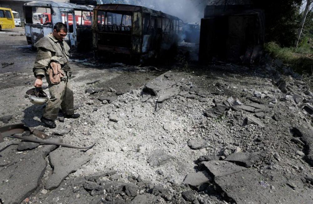 Донецк после взрывов и пожаров