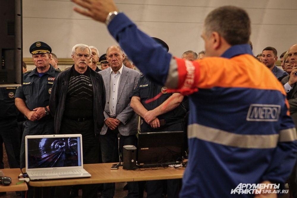 На учениях присутствовал временно исполняющий обязанности губернатора Георгий Полтавченко.