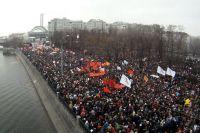 Болотная площадь во время митинга «За честные выборы» против фальсификации результатов выборов в Госдуму РФ шестого созыва.