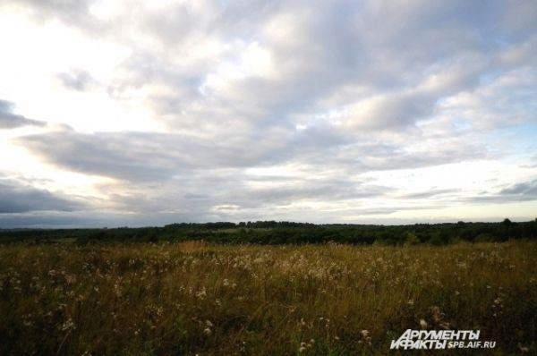 Слепневский холм теряется среди полей.