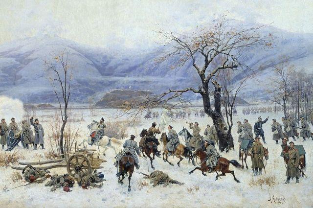 Фрагмент картины «Сражение у Шипки-Шейново 28 декабря 1877 года» (1894). Художник Алексей Кившенко.
