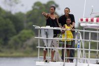 Президент США Барак Обама на отдыхе с семьей.