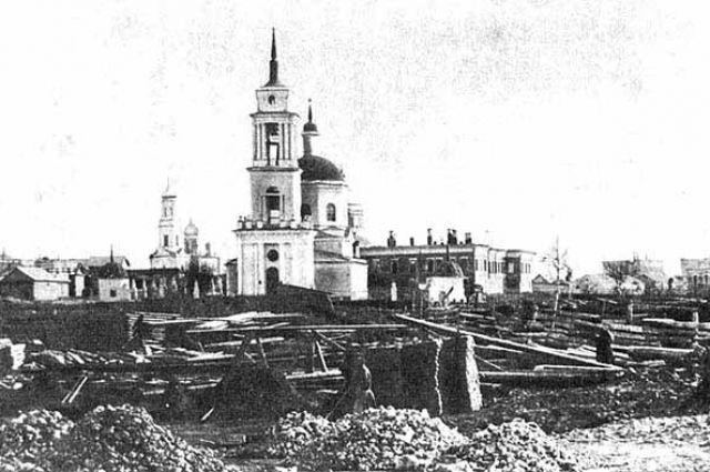 Центр Симбирска после пожара 1864 года