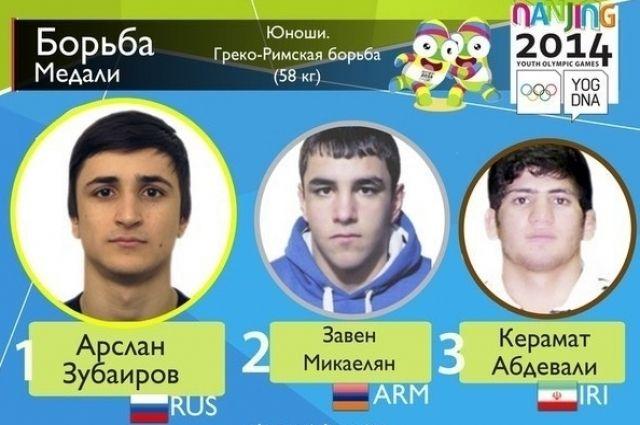 Арслан Зубаиров (слева) стал лучшим среди борцов на юношеской Олимпиаде.