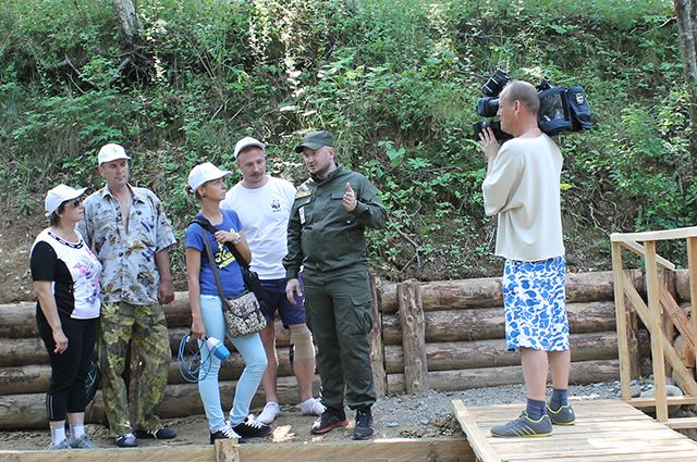 Съёмочная группа из Владивостока в Сихотэ-Алиньском заповеднике.