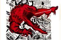 Фрагмент иллюстрации к первому номеру журнала «Крокодил». 1922 год.