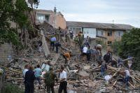 Разрушенный дом в Снежном Донецкой области