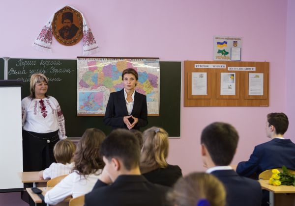 Марина Порошенко на празднике Первого звонка в столичной школе