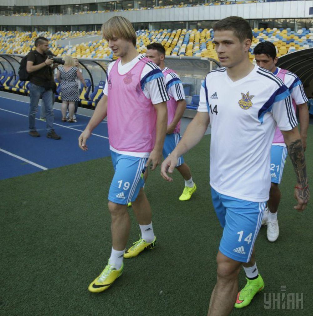 Тренировка сборной Украины по футболу перед матчем со сборной Молдовы в Киеве