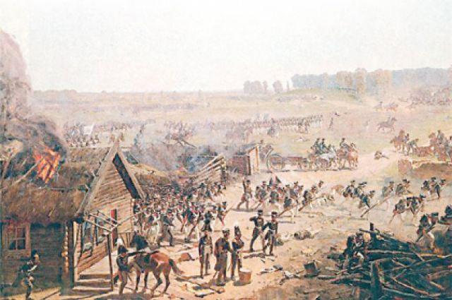 В Бородинской битве явного победителя не оказалось. Фрагмент панорамы Ф. А. Рубо «Бородинская битва».