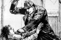 Иллюстрация к материалу о Джеке Потрошителе, опубликованная в газете Polize Gazette в 1888 году.