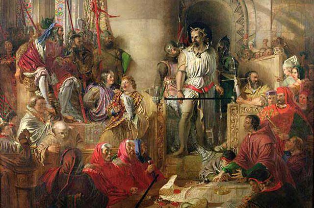 Уоллес на суде в Вестминстере. Картина Дэниела Маклиза, XIX в.