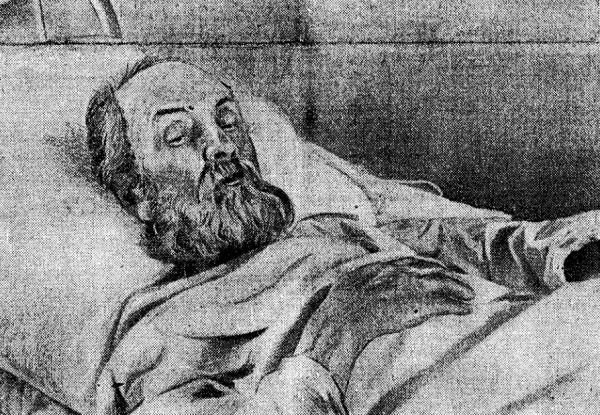 Циолковский в палате Калужской больницы за день до смерти. 18 сентября 1935 года.