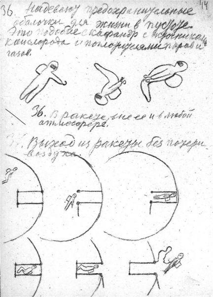Записи и рисунки Циолковского: выход ракеты без потери воздуха. Возможно, первое изображение скафандра.