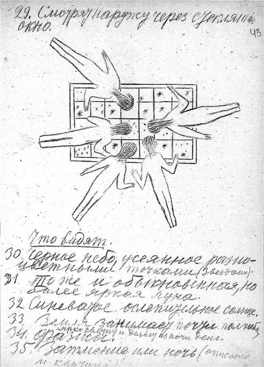 Записи и рисунки Циолковского. На рисунке космонавты смотрят в стеклянное окно - в иллюминатор.