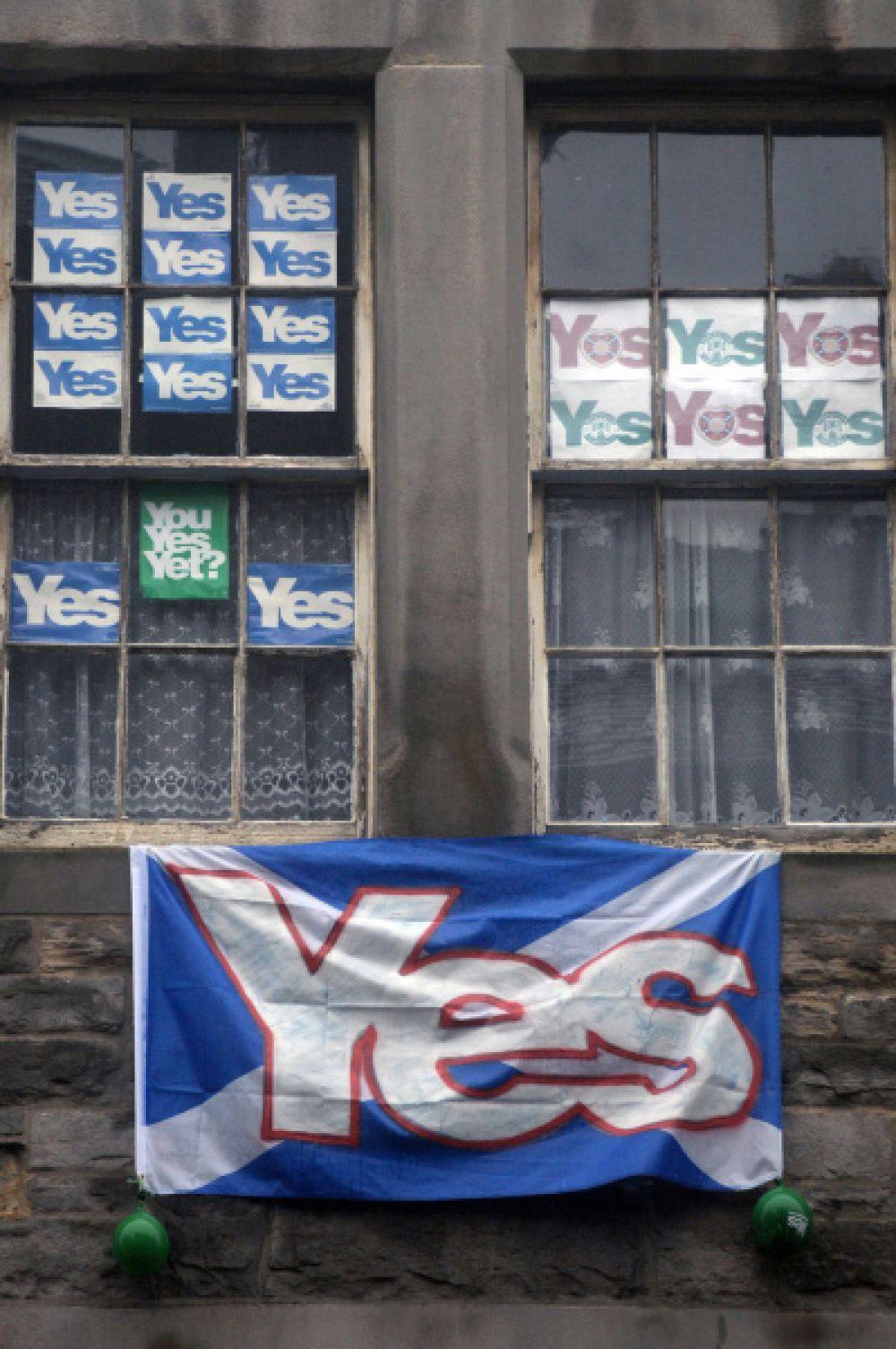Уличная агитация в поддержку отделения Шотландии в Эдинбурге.