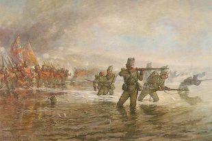 Второй батальон Стрелковой бригады английских войск переправляется через Альму. Льюис Джонс. 1854 год.