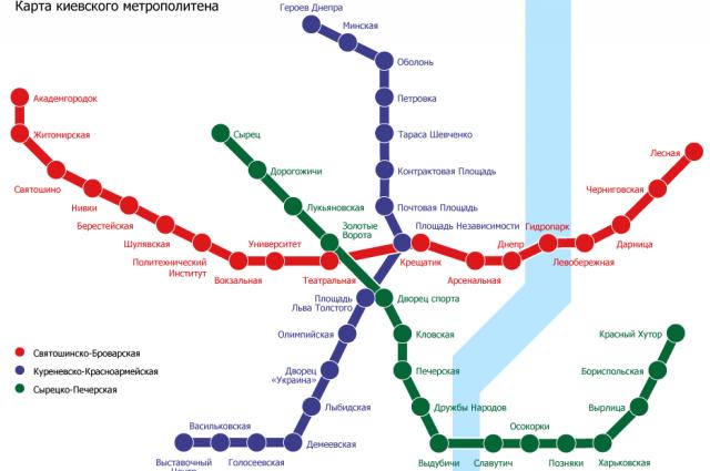 Схема линий Киевского метро