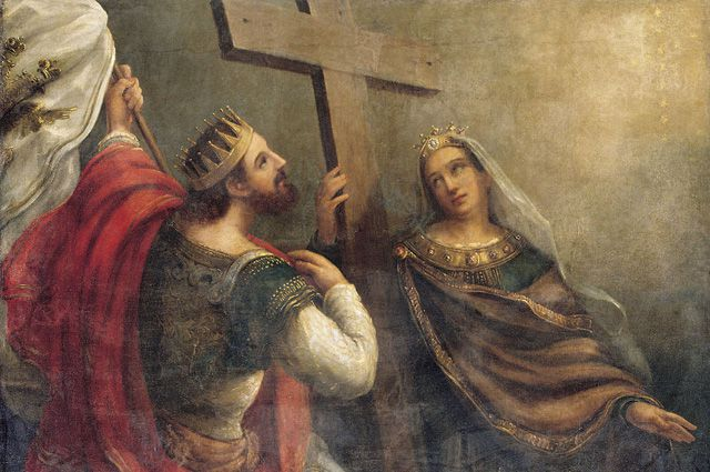Святые Константин и Елена вокруг Животворящего Креста Господня. (Картина В. К. Сазонова, XIX век).