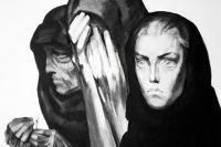 Репродукция картины «У Бабьего Яра» из серии «Это не должно повториться». Художник Борис Пророков. 1960 год.