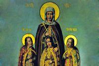 Вера, Надежда, Любовь и их мать София на иконе работы Карпа Золотарёва. 1685 год.