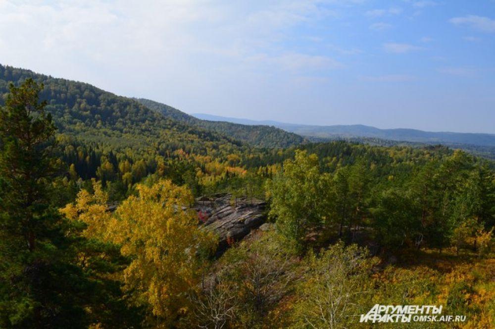 Вид на Курьинский район с озера Моховое.