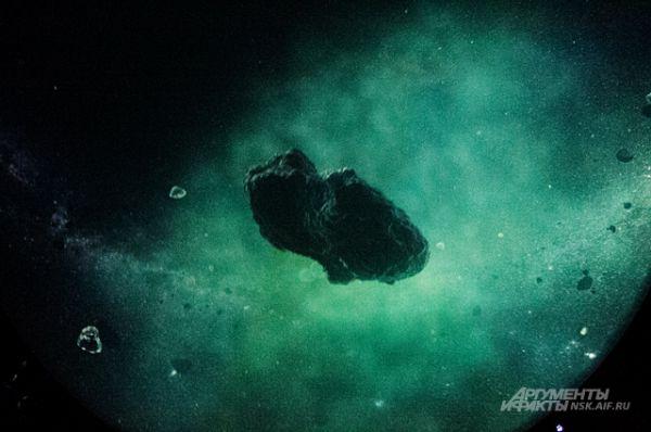 Фрагмент донецкого фильма. На кадре - детально смоделированный обитатель облака Оорта - области на внешней границы нашей системы. Объекты из этой области обычно становятся ядрами комет.