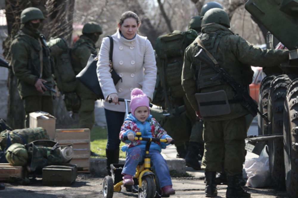 Во время «прямой линии» 17 апреля президент России Владимир Путин признал, что «вежливые люди» на самом деле являлись представителями ВС РФ.