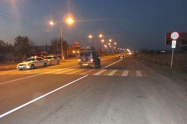 Пешеходный переход в Арсеньеве, рядом с которым был сбит человек.