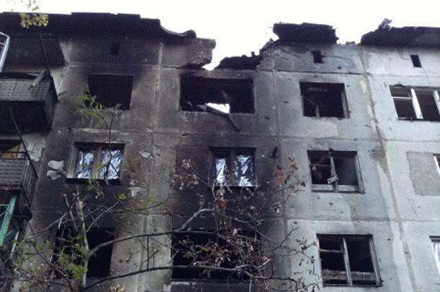 Разрушенный дом вгороде Ясиноватая Донецкой области.